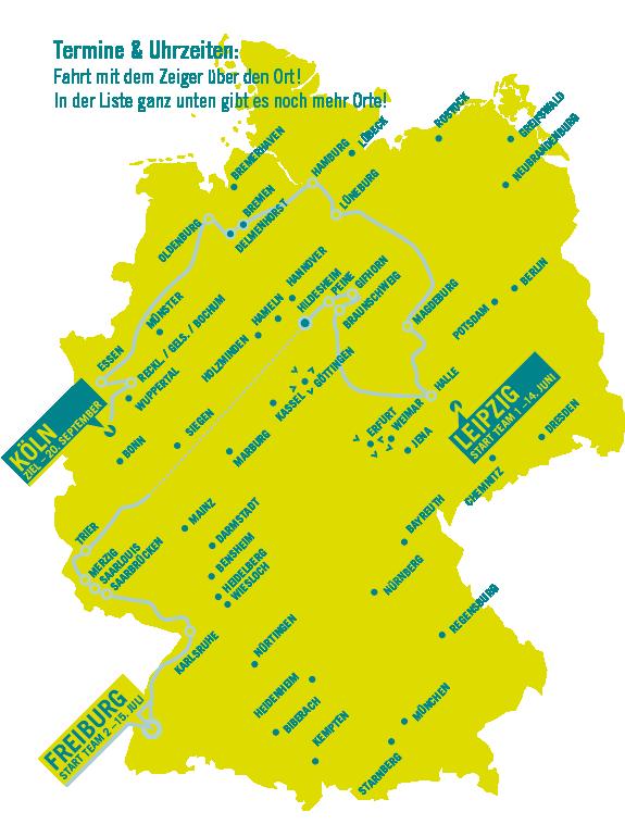 Karte der Mitfahr-Aktionen sowie Route MOOD TOUR 2014